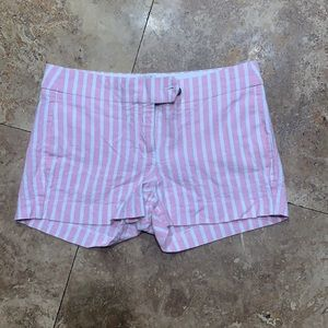 J. Crew pink and white striped shorts size 2